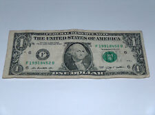 2009 $1 Bill US Bank Note Date Year 90s 1991 19918452 Fancy Money Serial Number