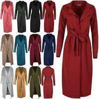 Womens Ladies Long Waterfall Wrap Belted Italian Blazer Cape Trench Coat Jacket
