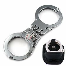 Handcuffs with Key Double Lock Silver Steel Triple Hinge Police Edition Silver