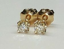 0.18 Ct natural round diamond 14k yellow gold stud earrings screw back womens