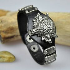 S390 Cool Rock Wolf Studded Genuine Leather Bracelet Wristband Cuff BLACK