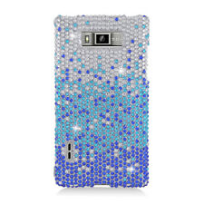 LG Optimus Showtime Crystal Diamond BLING Hard Case Phone Cover Gradient Blue