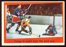1959-60 TOPPS HOCKEY 54 GUMP WORSLEY HARRY HOWELL NM TRYING TO SCORE N Y RANGERS