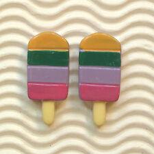 "Hand Painted - 10 x 1.25"" Rainbow Color Resin Ice Cream Bar Flatback Beads SB473"
