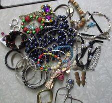 bag of jewelry vintage modern boho hippy single earrings craft wear repair lot