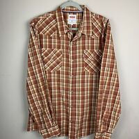 Levis Mens Western Shirt Plaid Size XL Long Sleeve Modern Fit Pearl Snap