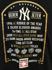 Derek Jeter #2 New York Yankees 2020 Hall of Fame Inductee Stats T-Shirt Navy