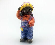 African American New Figurine Girl in Overalls Black Americana Poly Resin Statue