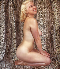 Vintage Stereo Realist Photo 3D Stereoscopic Slide NUDE Blonde w Leopard Fabric