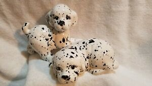2 ceramic Dalmatian Puppies figurines black and white Theresa Leduina