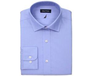 Nautica Men's Slim-Fit Stretch Cotton Solid Dress Shirt Blue 15.5 32/33 NEW $65