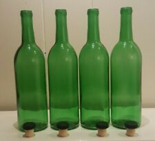 SET OF FOUR EMERALD GREEN CORKED BOTTLES SOLID DESIGN