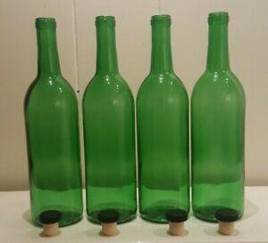 SET OF FOUR EMERALD GREEN CORKED BOTTLES SOLID DESIGN