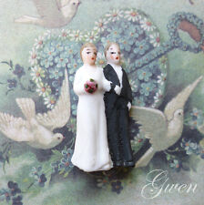 "Antique Bisque German Hertwig & Co Bride & Groom 1 3/8"" Wedding cake topper Doll"