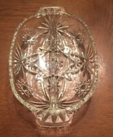 VINTAGE Divided RELISH DISH Tray 2 part Clear Glass Oval Star Pattern With Handl