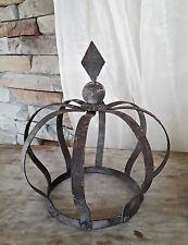 ❀  Krone Grau Braun 20cm Windlicht Übertopf Staudenhalter Metall Handmade #193A