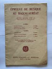 EPREUVE DE MUSIQUE AU BACCALAUREAT OEUVRES IMPOSEES 1962 CORNET FLEURANT