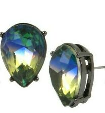 Betsey Johnson Gunmetal-Tone Rainbow Blue/Green Stone Stud Earrings