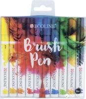 Talens Ecoline Dye Based Watercolour Brush Pen Set of 10 Colours