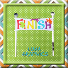 COLOUR RUN FINISH LINE Embellishment Card toppers &  Paper Piecing scrapbooking