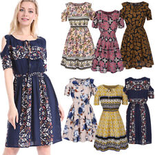 Big Sale Women Cotton Floral Print Dress High-waist Short Sleeve Mini Sundress