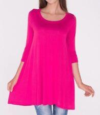 Plus Size 2X New 3/4 Sleeve Hot Pink Fuchsia Long Tunic Top Shirt Blouse Dress