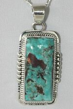 Signed Navajo Rare Blue Gem Turquoise Necklace / Pendant