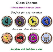 Eight Southwest Themed Wine Glass Charms with Various Graphics Always Know Yours