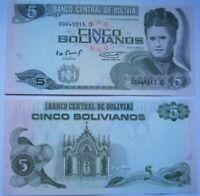 BOLIVIA 5 bolivianos 1986 (1995), P-217. Plancha UNC. Serie D