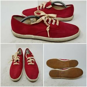 Keds Red Canvas Lace Up Low Skate Tennis Shoes Sneaker Womens Size 7
