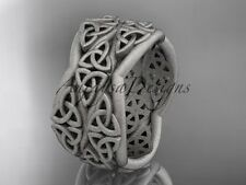 Platinum celtic knot wedding band, matte finish egagement ring CT7352G