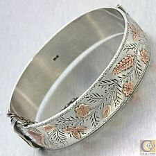 1880s Antique Victorian English Silver 10k Rose Gold Bird Leaf Bangle Bracelet