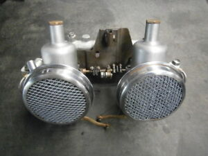 RARE twin carbes + manifold + air filters Austin Healey Bugeye Frogeye Sprite
