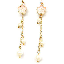 Lovely Tiny Sakura Flower Pearl Long Chain Romantic Drop Dangle Earrings Gift