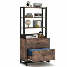 Tribesigns 2 Drawer Filing Cabinet Printer Stand with 4Tier Open Storage Shelves
