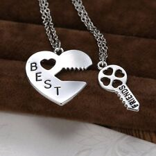 BF Best Friend Friendship Necklace Heart Key Set Silver Pendant Couple Necklace