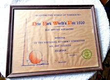 VINTAGE CERTIFICATE NEW YORK WORLDS FAIR 1939 FOR THE STATE OF ARIZONA SEAL