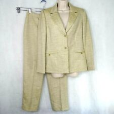 Daniele O by Tahari Levine 2 Piece Suit Jacket and Pants Women Size 8 Tan Brown