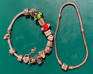 Pandora Sterling Silver Bracelet W/ 15 Charms Marked 925 ALE & Extra Bracelet