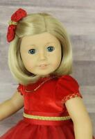 """American Girl Doll Kit Kittredge 18"""" Holiday W Outfit Blonde Blue Eyes Freckles"""