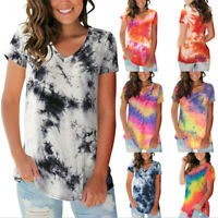 Summer Womens Tie-dye Loose Blouse V-neck T-shirt Casual Tunic Short Sleeve Tops