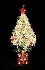 Cute Bottle Brush Tree Ornament With Christmas Gift Base & Holly Berries - Nwt