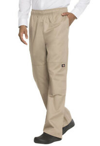 NWT DICKIES UNISEX CARGO STYLE DOUBLE KNEE BAGGY CHEF PANTS IN KHAKI DC15