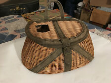 Vintage Fly Fishing Creel Wicker / Leather / Canvas Basket excellent condition!