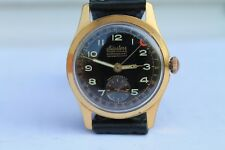 Vintage Old Swiss Monster Triple Date Gold Plated  Mens Wrist Watch