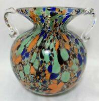 Mid Century Modern Italian Blown Studio Art Glass Multicolor Vase Double Handle