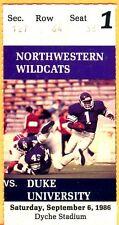 9/6/86 DUKE/NORTHWESTERN FOOTBALL TICKET STUB