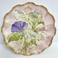 "J.P. Limoges Plate Floral Flowers France Gold Scalloped Edge 9"" Vintage Emboss"