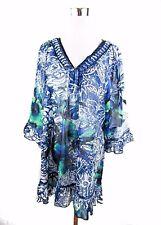 Women's Design bleu à volants Casual en mousseline de soie Parti Plage été Robe Tunique BD58