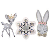 Snowflake deer rabbit sequins patches DIY clothing sew on embroidered patch BIHN